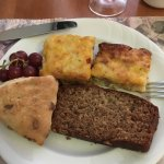 Wonderful baked egg quiche, banana bread and scone