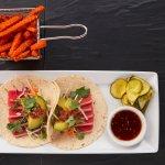Tuna Tacos with Sweet Potato Fries