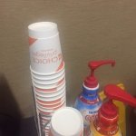 Ok, this took the cake....Choice Hotel cups in the lobby area? They were there for my 2 day stay
