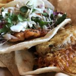 Garlic beef taco with egg and fish taco