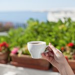 Breakfast in the morning on our private terrace!