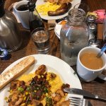 This is the shrimp, andouille sausage and grits and was delicious. Eggs, belgian waffle and meat