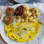Asparagus and mushroom omelette with sausage and potatoes