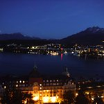 Art Deco Hotel Montana Luzern night view from room.
