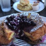 Yep, that's a buttered biscuit in the background and the stuffed blueberry French toast. Heavenl