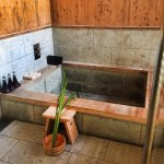 The indoor/outdoor bath with onsen water (this is mineral based)