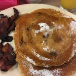 Best Blueberry pancakes and bacon