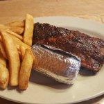 Half rack of beef ribs, steak fries and corn