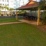 Cabana and mini tennis court