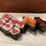 Tuna roll (Tekka maki) and Uni and fishing roe sushi
