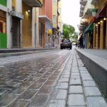 The Fortaleza street is covered by bluish-grayish stone.