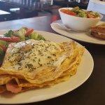 Fresh salad and egg breakfast