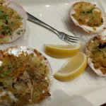 Scallops - oven baked n over baked with salt....