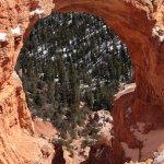 Viewing through the Natural Bridge at Bryce Canyon
