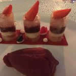 dessert of summer fruits with sorbet and champagne jelly