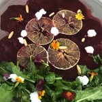 Watermelon feta salad, beetroot salad, avocado toast