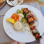 Seafood souvlaki - yum yum yum....
