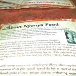 The menu (with also a bit of history of the Nyonya food)