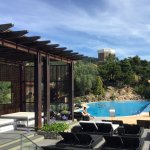 Generous poolside with great service and stunning long views