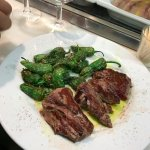 Grilled beef with pardon peppers