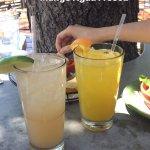 Lavender Paloma cocktail and Mango Agua Fresca