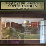 In the breakfast area the photographs displayed were of covered bridges in the western Indiana