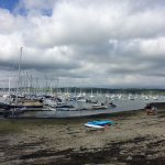This is the view of Mylor Marina and Beach from outside Castaways.