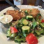 Spinach pie with Greek salad