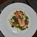 One of the favourite main dishes, fresh roasted salmon with Greek salad.