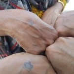 Tiny Turtle tattoos stamped before entering the Pier!