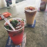 rasberry mojito, painkiller (our drink of choice for the week), Red Stripe