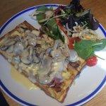 Gluten free ham, cheese and mushroom waffle