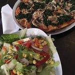 Spinach and mushroom pizza; salad primavera.