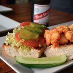 Shrimp Sandwich and Beer
