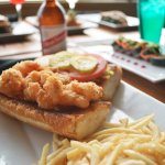 Shrimp Sandwich and Drinks