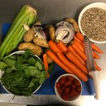 Getting the fresh veggies together to make our Garden Vegetable Soup
