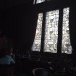 Leaded window in Palm Court lounge