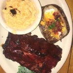 Ribs, mac and cheese and loaded potato