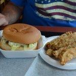 Royal burger and an order of potato wedges