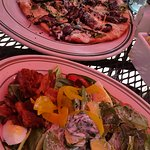 Goat Cheese Pizza and Spinach Cobb Salad
