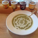 Asparagus soup w blue cheese chèvre floral panel and beer samplers