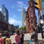 Learning about the flat iron building and where lake Ontario used to be with our awesome guide L