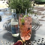 Raspberry gin on terrace