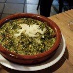 Espinachas a la crema with gluten free bread