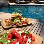 Watermelon salad and Ahi Poke Nachos