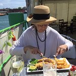 You're never going to get through that - but she did! Lovely lunch on Trinity's At The Lightship