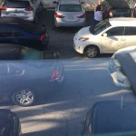 4 cars illegally blocking in several cars in the Dventurer Hotel parking lot