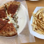 Hamburg + Cheese Calzone with small french fries