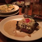 Ribeye with blue cheese and dijon mustard sauce! YUMMO!