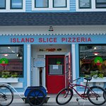 The front of Island Slice Pizzeria--you can't miss it!
